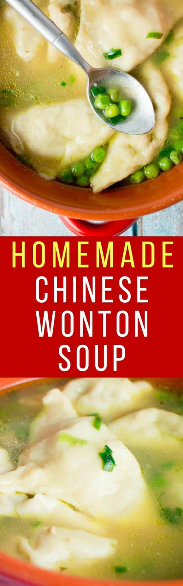 Homemade Chinese Wonton Soup recipe that's authentic and easy to make! The wontons are made from scratch and the dumplings are filled with pork. It tastes just like your favorirte Chinese restaurant soup but much more healthy for you!