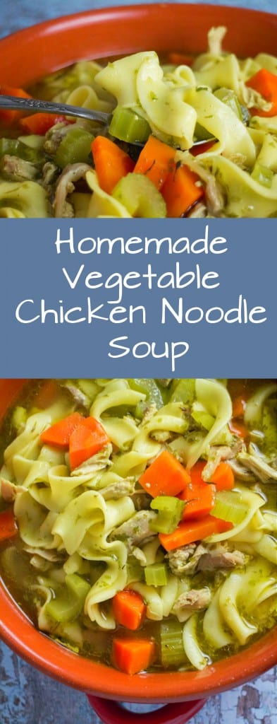 Homemade Vegetable Chicken Noodle Soup recipe - just like how Mom used to make it! The perfect bowl of comforting soup on a cold Winter day!