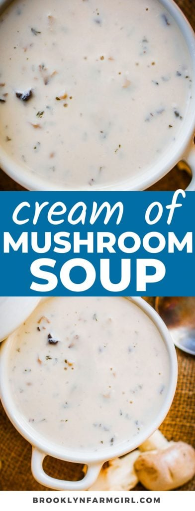 This easy condensed Homemade Cream of Mushroom Soup is even better than Campbell's! Made from scratch with milk and fresh mushrooms, this creamy soup is so hearty, comforting, and the perfect addition to your favorite casseroles.