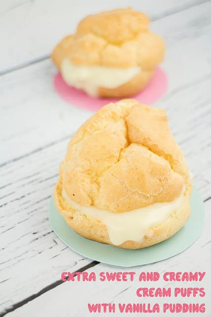 Delicious Cream Puffs Filled with Vanilla Pudding recipe that tastes just like the bakery! Recipe makes one dozen cream puffs.