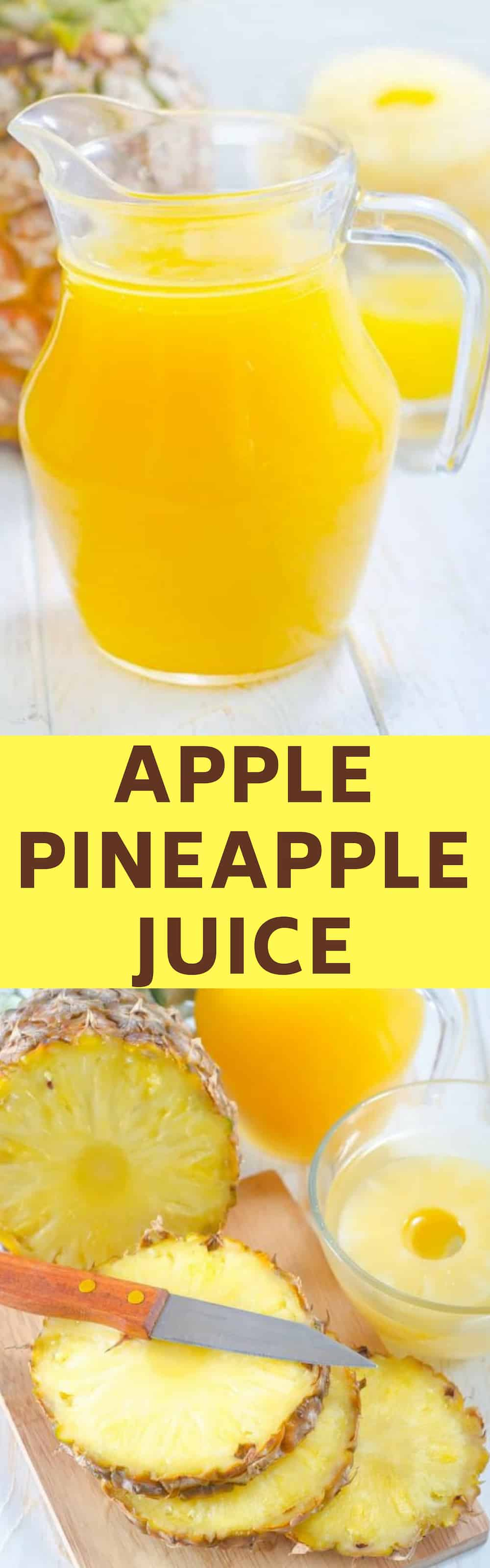 HEALTHY, 2-ingredient Apple Pineapple Juice! This fresh homemade juice is made with just one Fuji apple and one pineapple! It's perfectly balanced between sweet and tart and it has so many health benefits, including detox and weight loss!