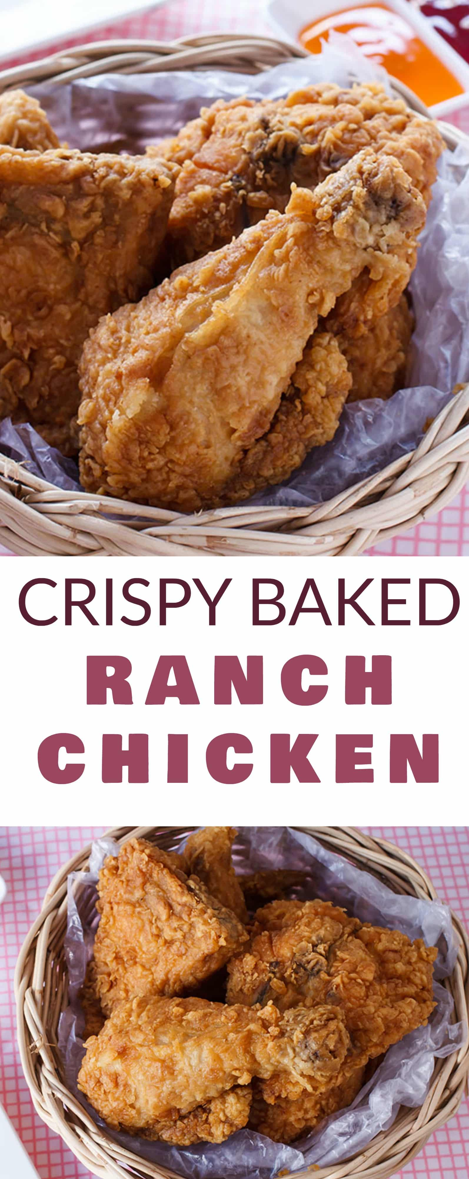 CRISPY chicken made with RANCH dip and baked in the oven! This easy Crispy Baked Ranch Chicken recipe only needs a few ingredients and makes a healthy dinner! Serve with a salad or some fresh vegetables on the side! I love making this recipe with chicken breasts and drumsticks so my entire family is happy!