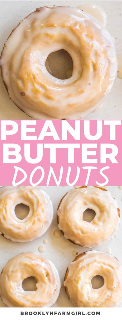 An easy batter made from creamy peanut butter and classic baking ingredients transforms into soft and fluffy Peanut Butter Donuts. Decorated in a tempting vanilla glaze, these donuts make for a comforting dessert or a sweet breakfast.