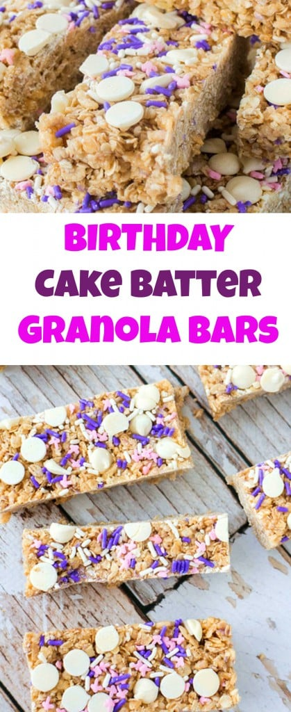 Birthday Cake Batter Granola Bars taste just like cake and are topped with chocolate chips and sprinkles!