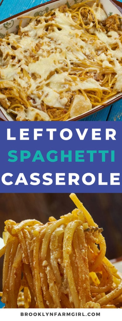 This leftover spaghetti casserole is a easy dinner meal recipe for your family.  Enjoy spaghetti noodles tossed in pasta sauce, then topped with cheese and mushrooms and baked until golden brown.