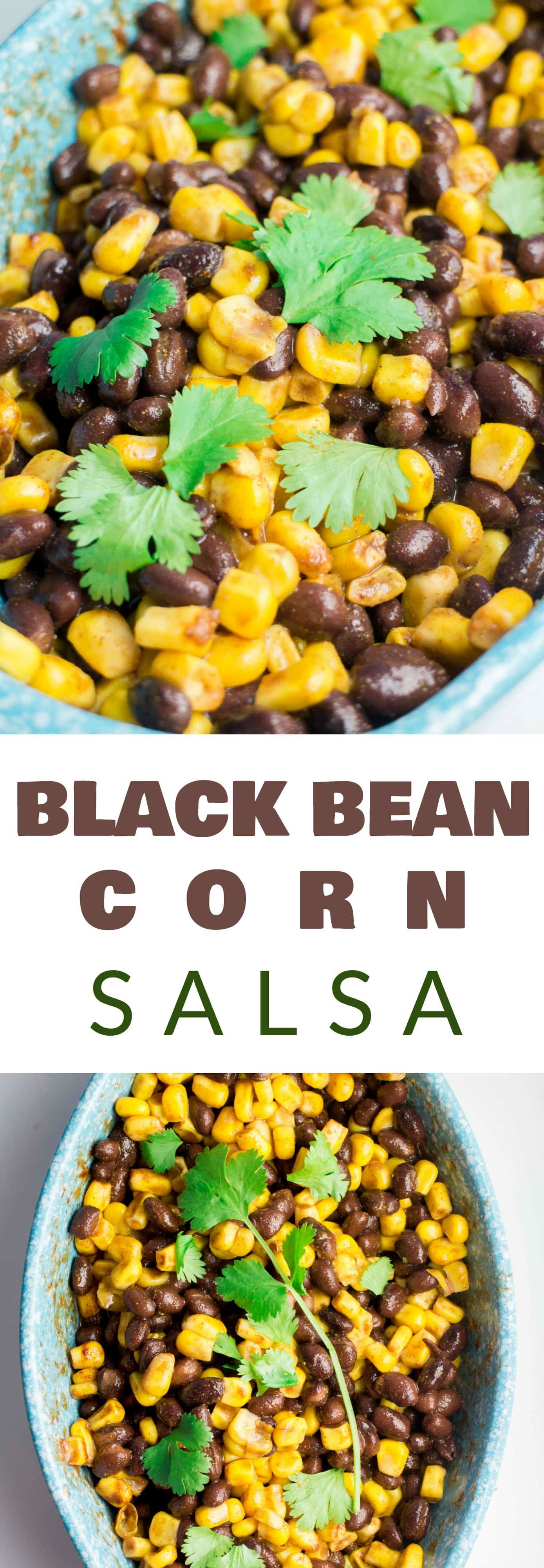 MEXICAN BLACK BEAN and CORN SALSA that takes 2 MINUTES to make! This easy homemade salsa recipe is full of fresh Mexican flavor! Eat this healthy dip with chips or serve as a salad.