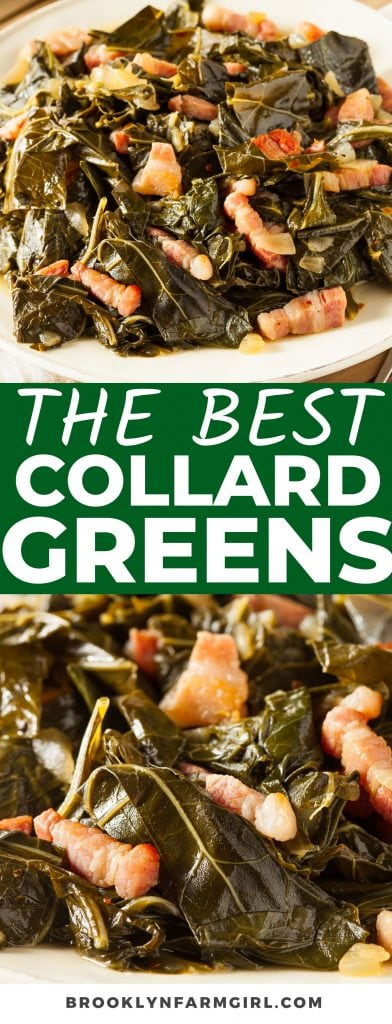 Want more healthy greens in your diet? Turn to The Best Collard Greens! So delicious and rich, this perfectly seasoned side dish with bacon is smoky, sweet, and will have you thinking you're in the south.