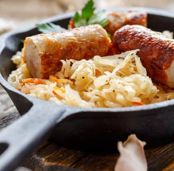 Sauerkraut and Pork Sausage