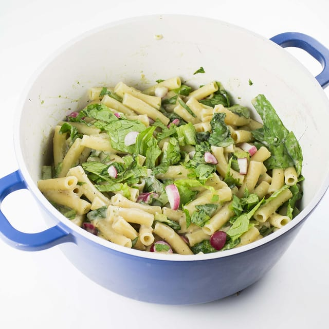 Creamy Vegetable Ziti Pasta is a tasty comfort meal recipe that includes lettuce and radishes!