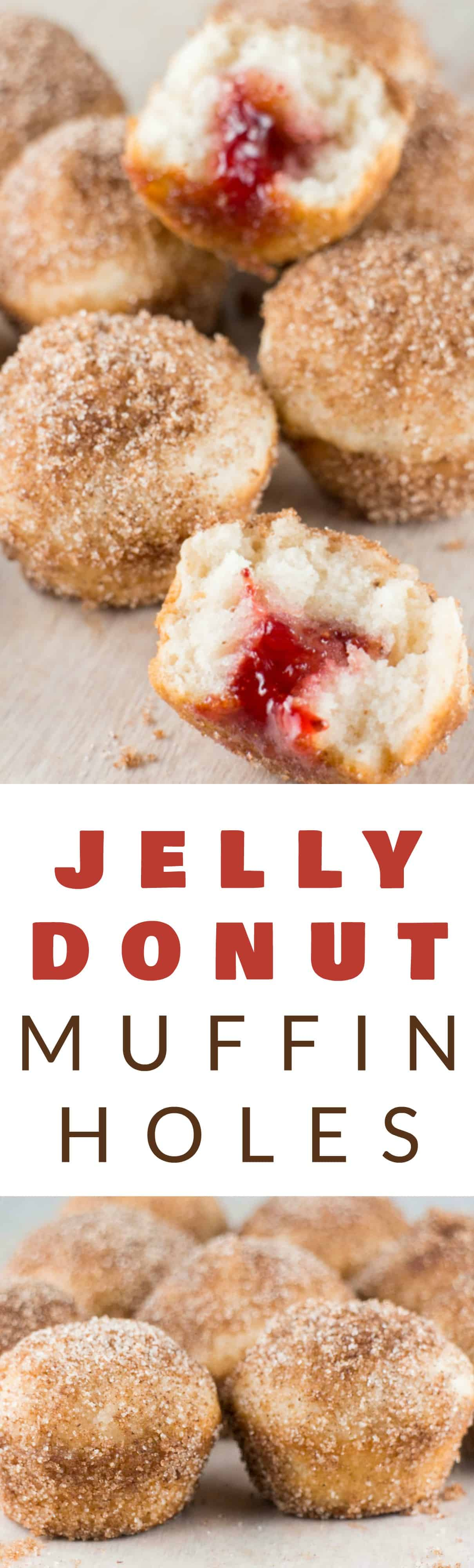 Jelly Donut Holes recipe! These baked donut holes are easy to make and are rolled around in delicious cinnamon sugar! These homemade treats taste just like Dunkin' Donuts Munchkins but are much healthier!