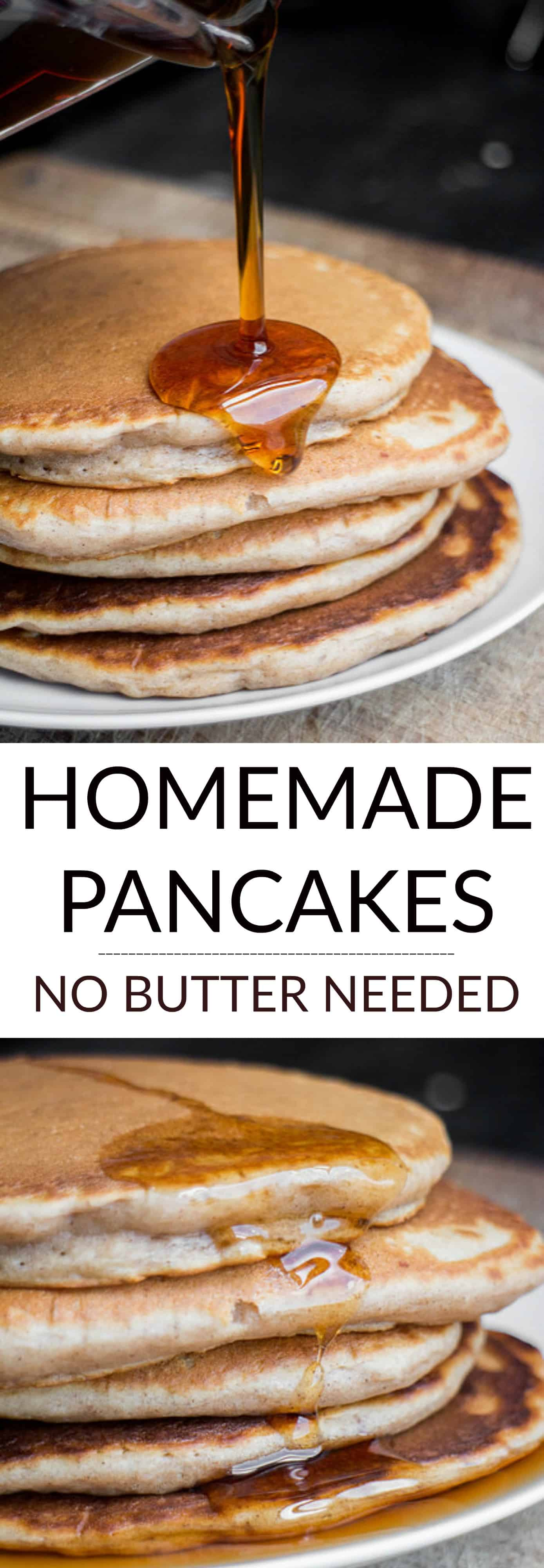 NO BUTTER Homemade Pancakes recipe are fluffy and so easy to make!  They're so good you won't miss the butter at all, that makes them more healthy too!   These made from scratch pancakes are my favorite Saturday morning breakfast, my family considers them the best!  Dairy Free/Vegan too!