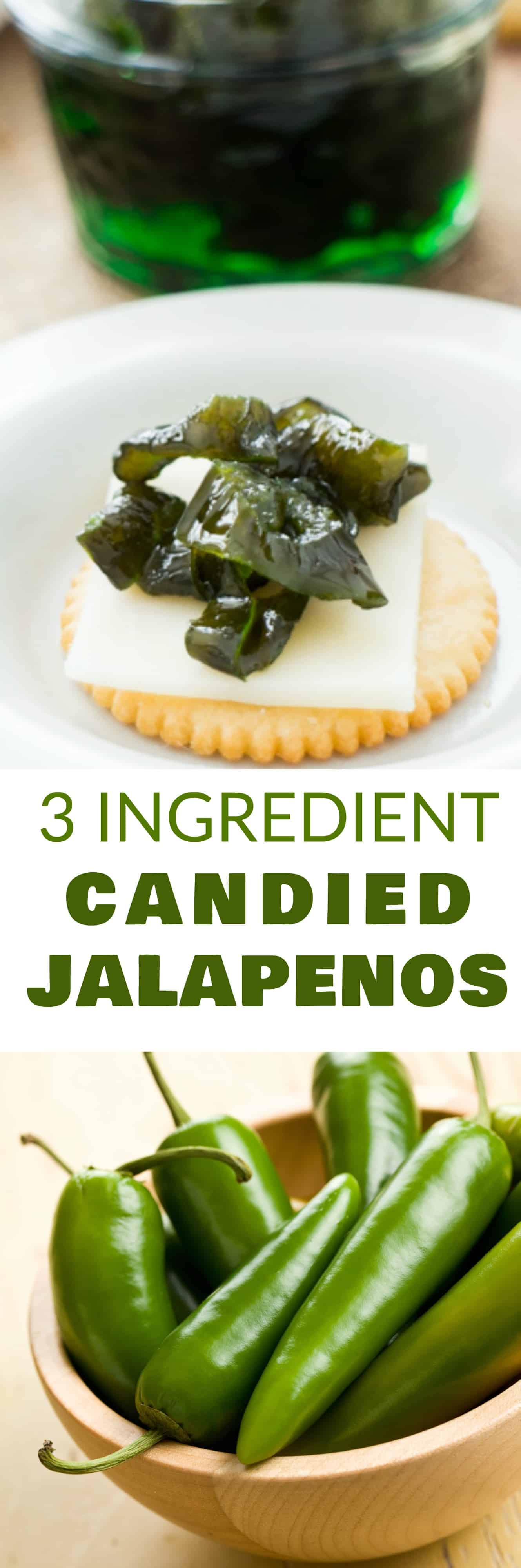 EASY 3 INGREDIENT Candied Jalapenos recipe! You only need jalapenos, sugar and water to make refrigerator candied jalapenos!  Use these as a appetizer dip, on top of crackers or in dinner dishes! Store in refrigerator or use for canning!