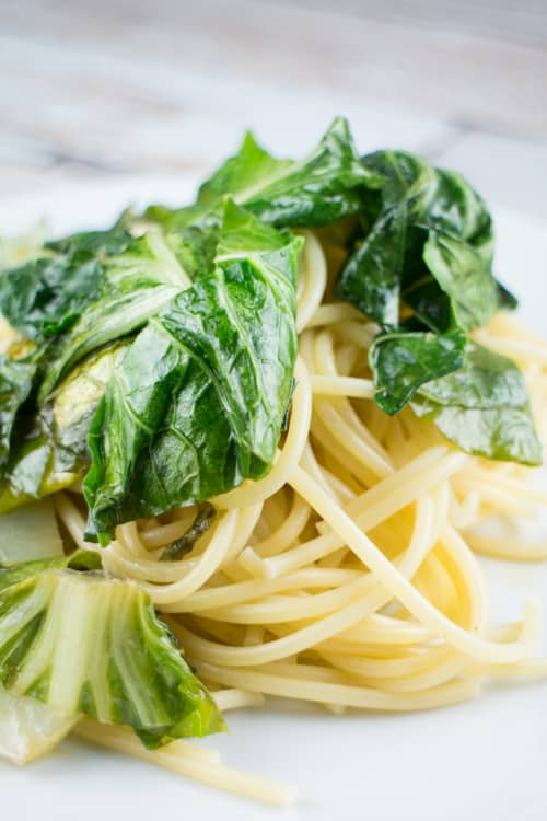 Bok Choy and Garlic Over Pasta_3