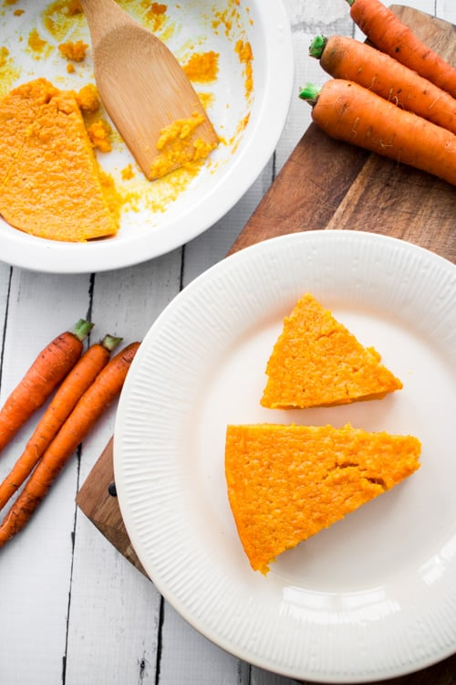 Carrot Souffle for dessert is a great alternative to carrot cake. It's made with 2 pounds of carrots and made sweet with butter, brown sugar and more.