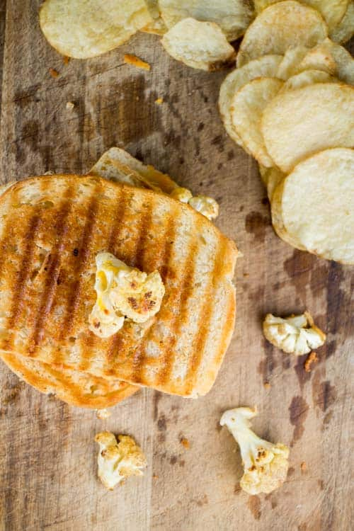 Grilled Cheese with Cauliflower and Potato Chips