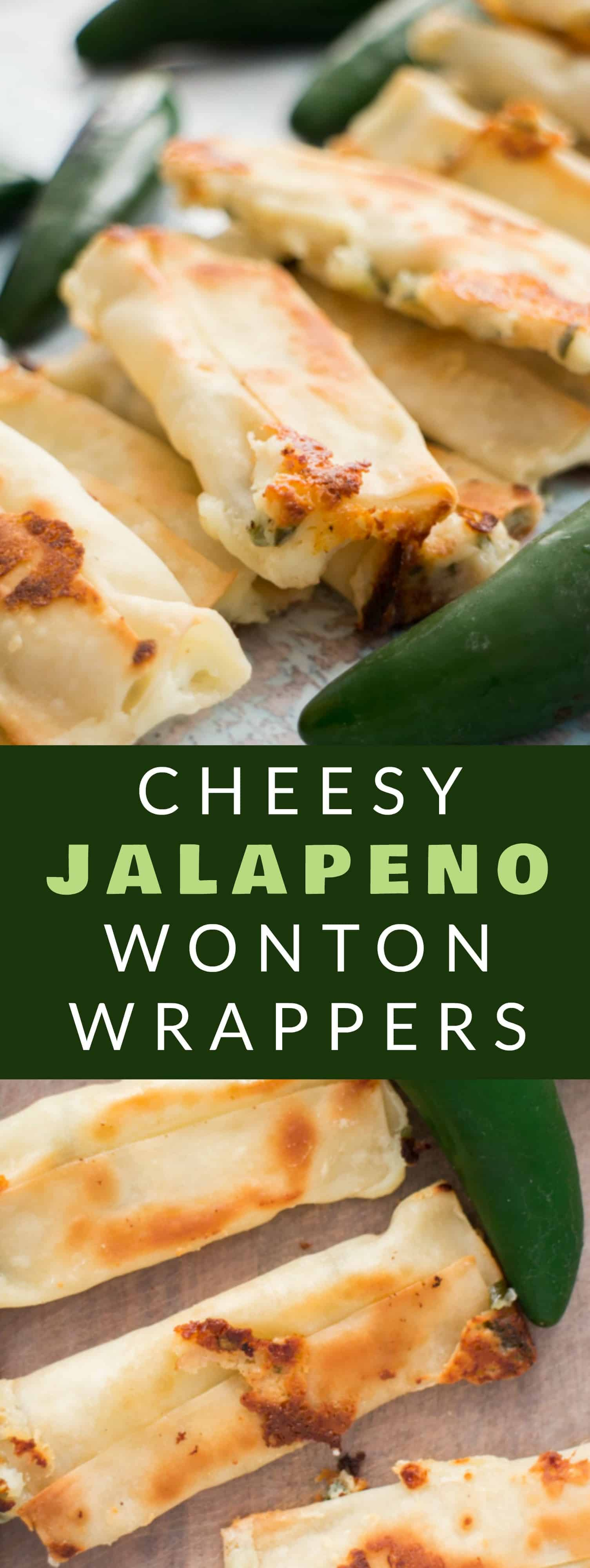 CHESSY JALAPENO WONTON POPPERS are so easy to make with wonton wrappers! This simple recipe uses cream cheese and jalapenos to wrap up in wonton wrappers! Bake them in the oven and serve them as a healthy appetizer! Everyone always LOVES these baked snacks!