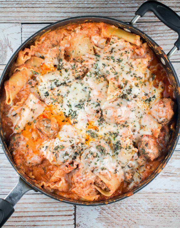 Delicious Extra Cheesy Lasagna Meatball Skillet. This is a quick, easy recipe if you are craving lasagna but don't have the time to bake it!