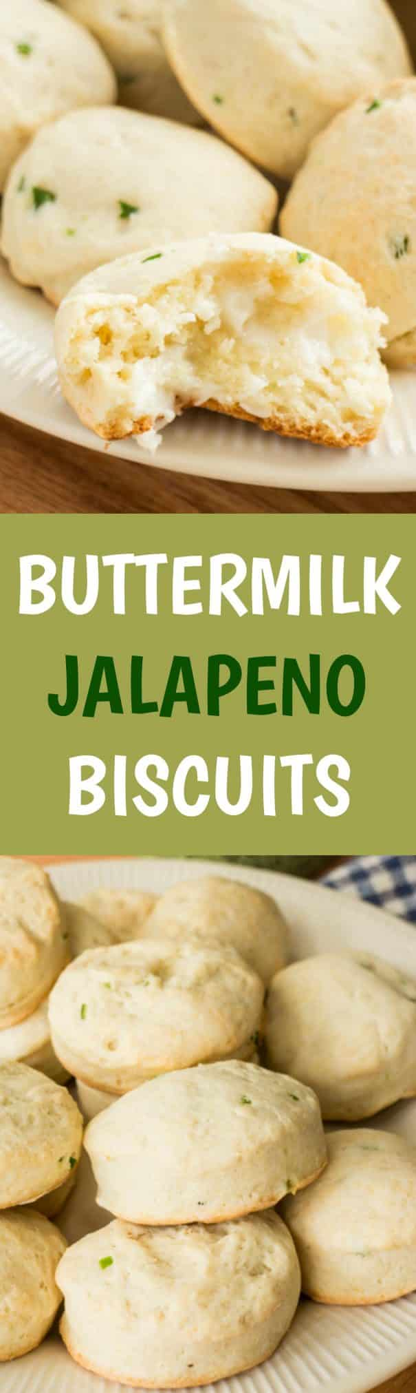 DELICIOUS easy to make Jalapeno Buttermilk Biscuits recipe!  Recipe includes step by step pictures!  These Southern style homemade biscuits are made from scratch with diced up jalapeno peppers.  They are best served with a warm comfort food casserole!