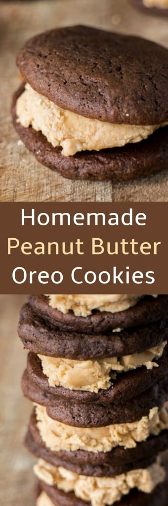 Delicious Homemade Peanut Butter Oreo Cookies recipe that is easy to make! Recipe makes 8 cookie sandwiches.