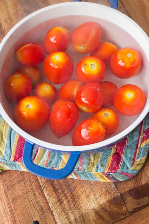Easy step by step instructions with pictures on how to make diced tomatoes from fresh tomatoes. Steps walk you through the beginning all the way up to freezing them.