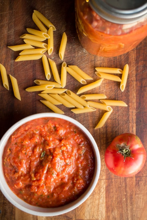 Oven Roasted Beef Tomato Sauce is the perfect spaghetti sauce recipe. It's great to use with beef or heirloom tomatoes.