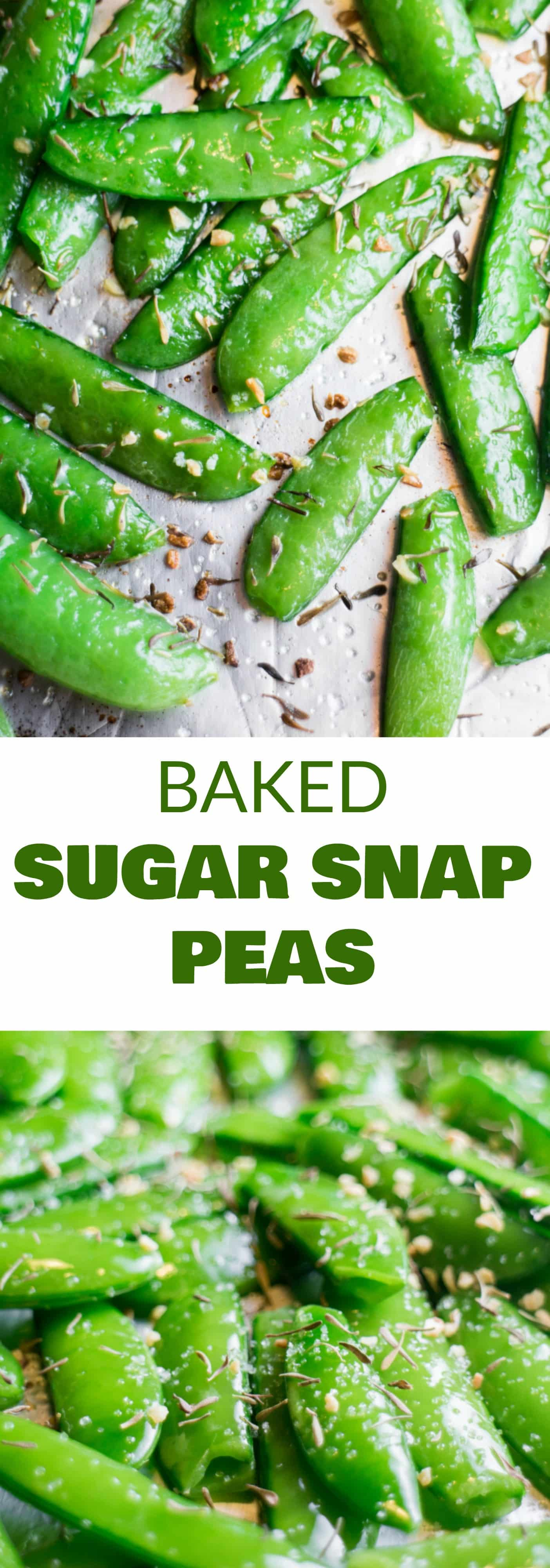 HEALTHY Baked Sugar Snap Peas are easy to make and ready in 8 minutes! Sprinkle with garlic, thyme and salt for a healthy snack! Adults and kids both love this easy delicious pea recipe!