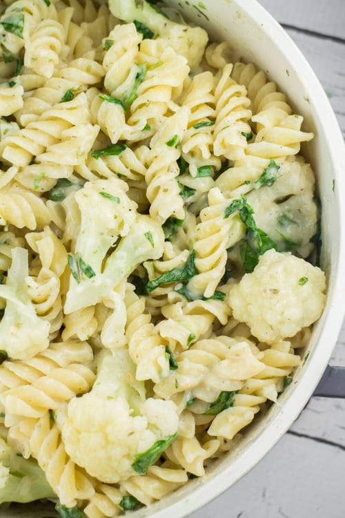 This recipe for pasta with cauliflower is a simple, satisfying dish! Rotini pasta noodles are tossed in a creamy parmesan cheese sauce with steamed cauliflower and lettuce. A quick, easy and delicious dinner that's perfect for busy weeknights!