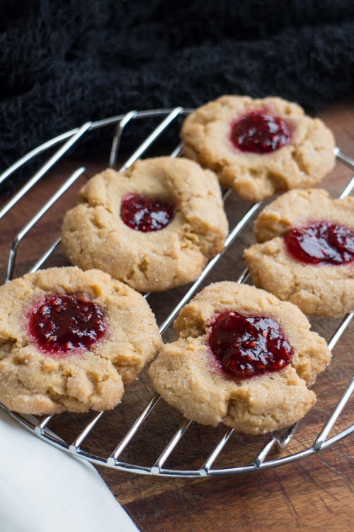 Raspberry Jam Peanut Butter Blossom Cookies recipe!  This is the Peanut Butter Cookie recipe ever!  These make a beautiful holiday cookie!