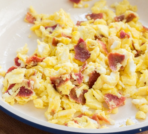 Scrambled Eggs With Bacon - Brooklyn Farm Girl