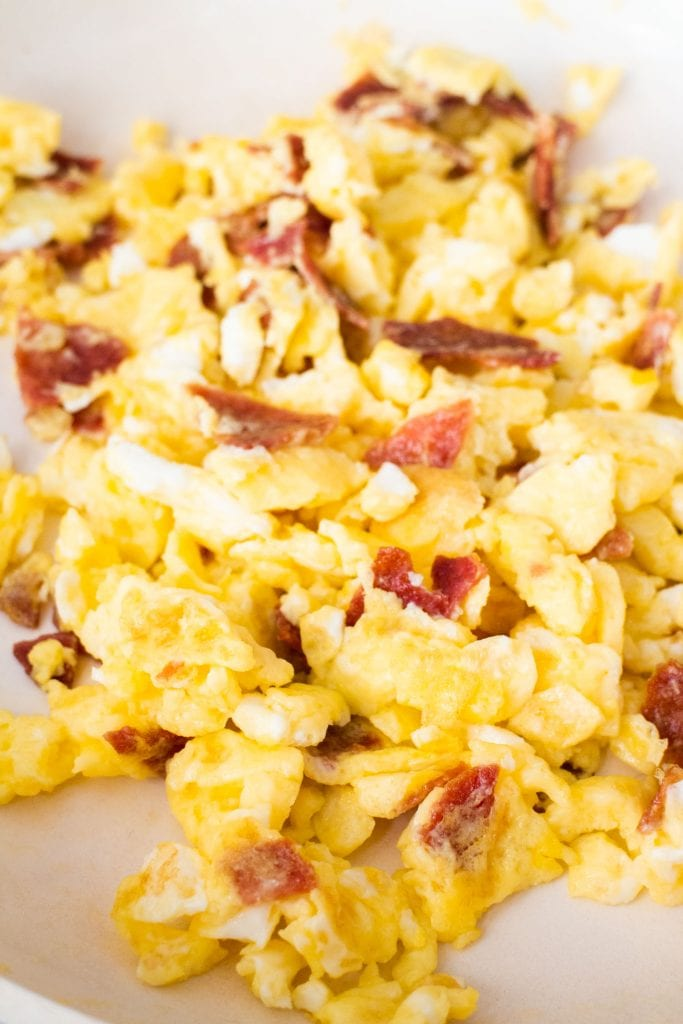 pictured filled with scrambled eggs with bacon