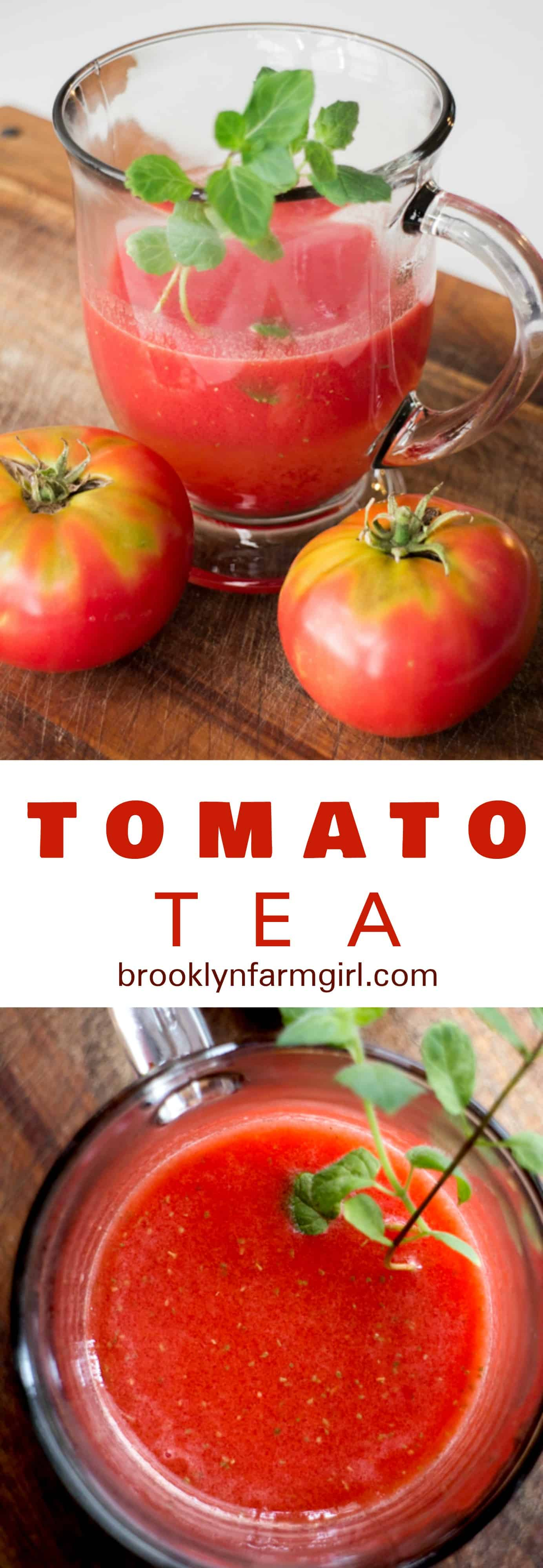 HEALTHY Tomato Tea recipe that is made with 2 ingredients! This easy homemade tomato tea can be served hot or cold and is filled with many health benefits! Whenever my skin is acting up with acne, I drink a cup of this in the afternoon!