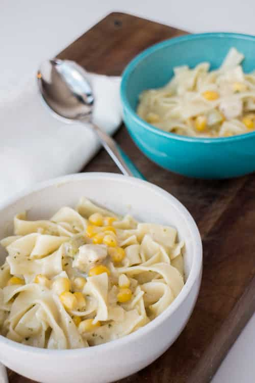 Creamy Chicken Noodles is a perfect weeknight meal to cozy up with during Winter!