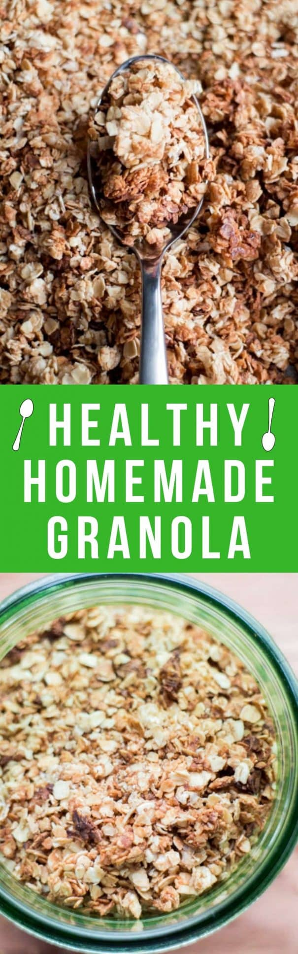 This easy Healthy Homemade Granola recipe is a favorite breakfast! Not only is it super easy to make on the stovetop, but it's perfectly crispy and versatile. Once you realize how easy this healthy homemade granola recipe is to make, you'll never buy granola in the store again! With honey, vanilla and cinnamon, this quick homemade granola recipe is a pantry staple for our family.