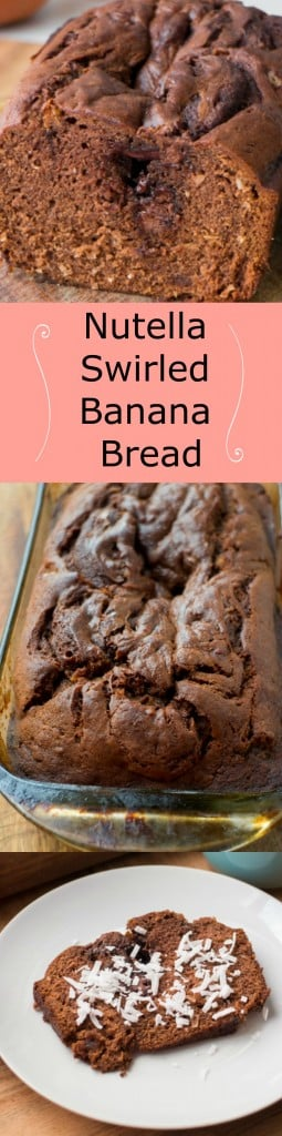 Nutella Swirled Banana Coconut Bread recipe.  This delicious banana bread recipe has chocolate chips inside of it!