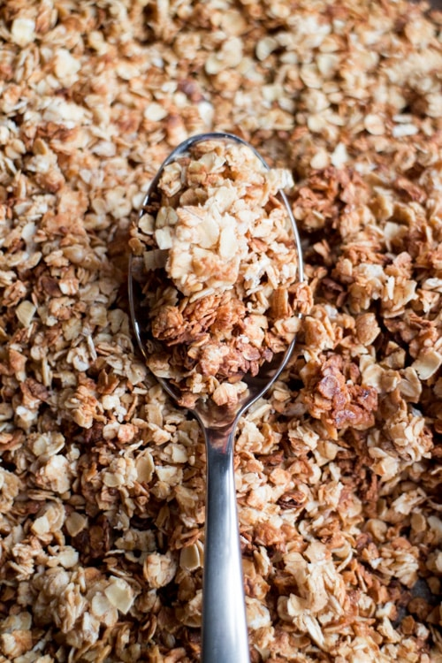 Easy step by step recipe instructions on how to make Stovetop Cinnamon Vanilla Granola!  Once you realize how easy it is to make, you'll never buy it in the store again!