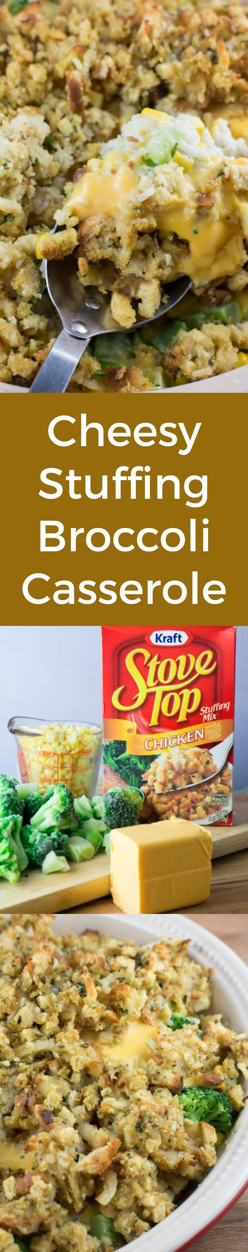 CHEESY Broccoli Stuffing Casserole recipe made with Stove Top! This is a easy dish made with frozen vegetables, cream of chicken soup, rice and Velveeta cheese! It's one of my favorite Thanksgiving side dishes! If you want to make it Vegetarian use cream of broccoli soup instead!