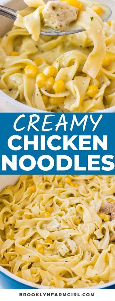 This easy one-pot recipe for Creamy Chicken and Noodles combines simple ingredients and comforting flavors. Pair the creamy egg noodles, shredded chicken, and sweet corn with dinner or enjoy it as a warming main dish. Easy to cook on the stove or in a crockpot!