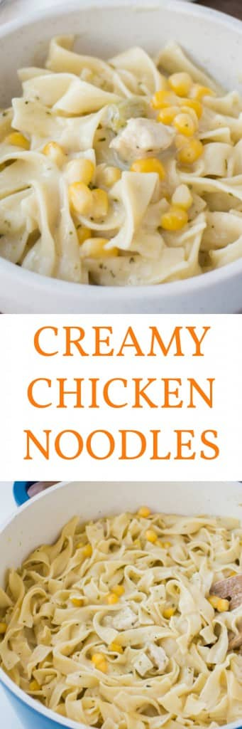 CREAMY Chicken and Noodles is a easy casserole bake recipe that you can serve as a main or side dish.  It's creamy sauce is made with cream of chicken and cream of broccoli soup and then poured over egg noodles and diced chicken. It's my favorite comfort food dish!