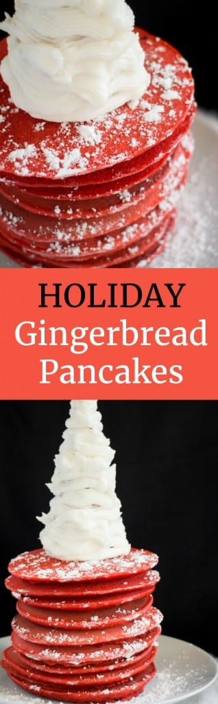 These bright red Gingerbread Pancakes are fun for the holidays! Serve them with a powdered sugar frosting tree on top! Perfect for Christmas morning breakfast!