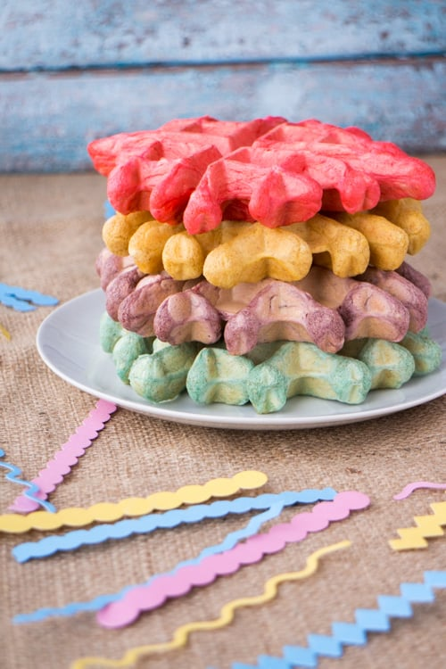 Party Time Rainbow Waffles are the perfect birthday breakfast in bed!