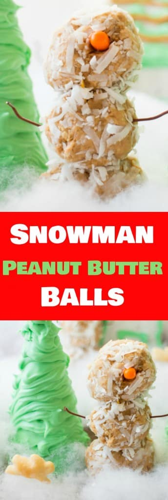 Snowman Peanut Butter Balls is a fun and delicious recipe for the entire family to make together! They're so cute everyone will love them! Eat them for dessert, a appetizer or use them for a gingerbread house!