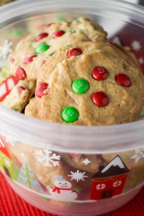 Delicious 2 dozen Christmas cookie recipe made with Mini M&M's! This is a family recipe that everyone loves!