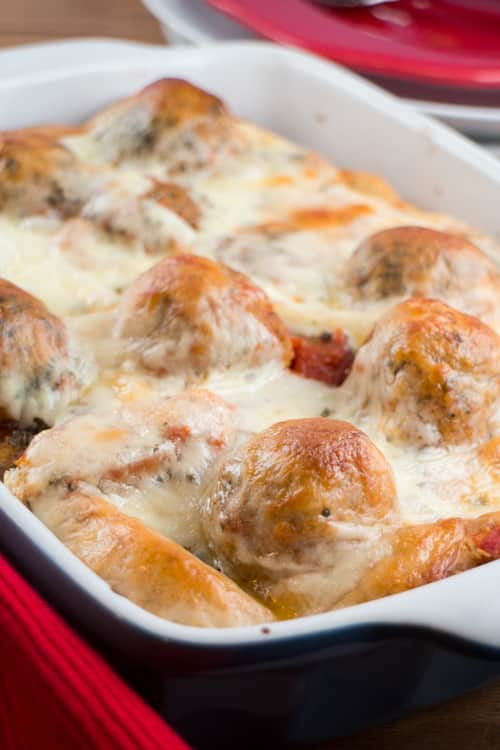 This Cheesy Meatball Texas Toast Casserole takes less than 30 minutes to create. With just 4 ingredients and one pan, it isn't a regular family favorite on our table but this is my cheat meal when it comes to easy dinner recipes. The best part is everyone wants a second helping!