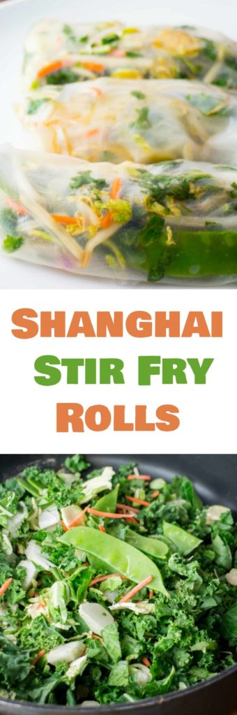 Shanghai Stir Fry Rolls are a healthy and delicious dinner packed with vegetables! Ingredients include Brussels sprouts, bok choy, kale, snow peas and carrots! These make a great appetizer too!
