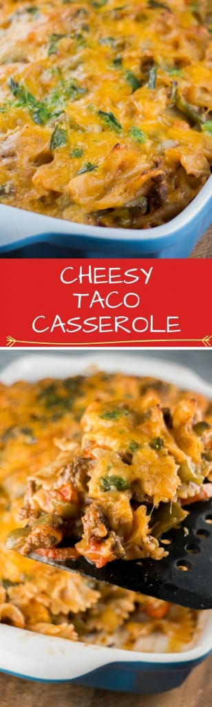 CHEESY Taco Casserole is EASY to make. This simple baked casserole recipe is made with elbow noodles, tomato soup, ground beef and lots of cheddar cheese!  This is a yummy dinner that everyone will love - especially the kids!