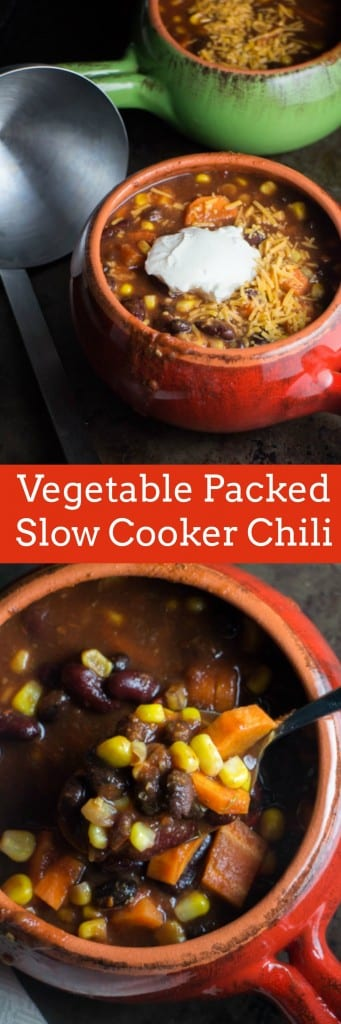 This Vegetarian Slow Cooker Chili is packed full of vegetables! It's the perfect healthy comfort food that your whole family will love!  This vegetarian recipe is so easy to make!