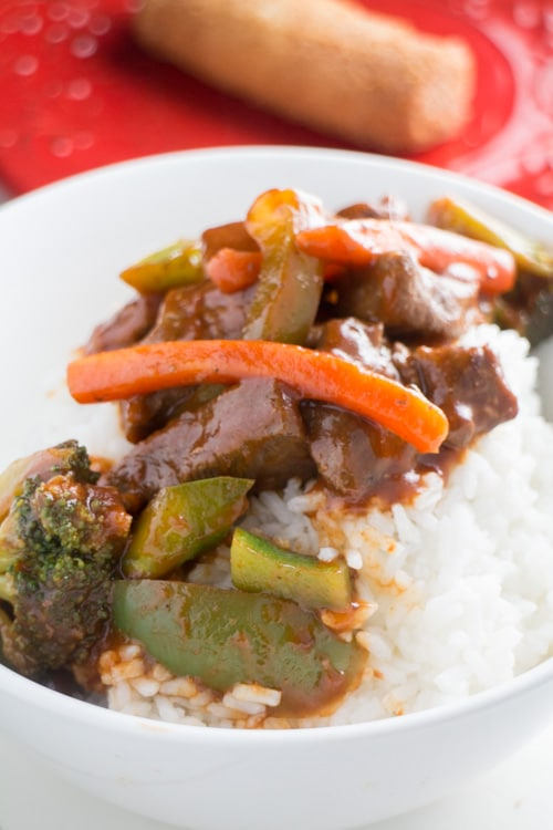 AMAZING tasting Chinese Pepper Beef Cubes - this easy to make Chinese dish is tasty and will have your family begging for it!  Serve beef and vegetables over white rice for a healthy authentic Chinese meal!