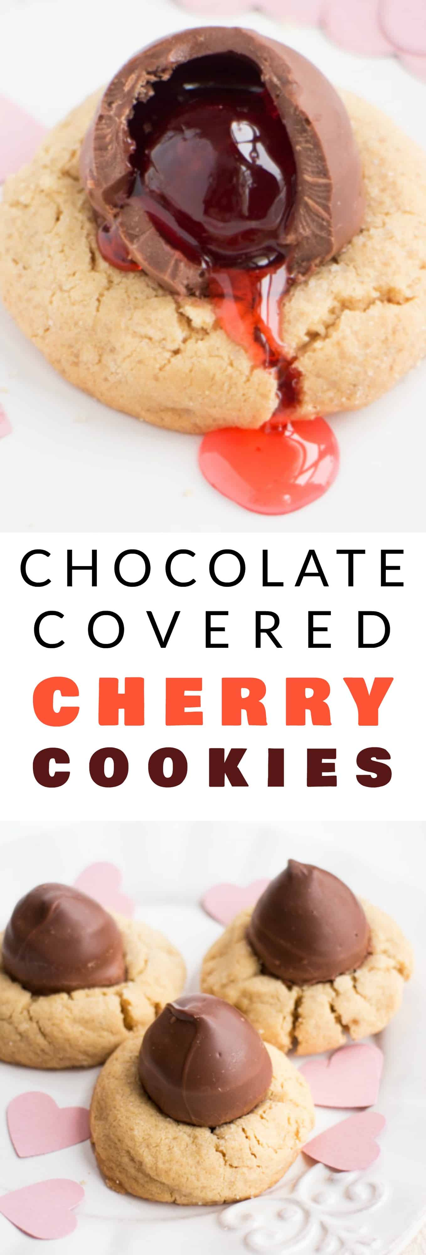 CHOCOLATE covered CHERRY cookies! Easy recipe for Peanut Butter Blossom Cookies with a chocolate covered cherry in the middle of each one! The cookies are so soft and chewy, that kids and adults will consider them the best! These are great cookies for Valentines Day, Christmas and parties!