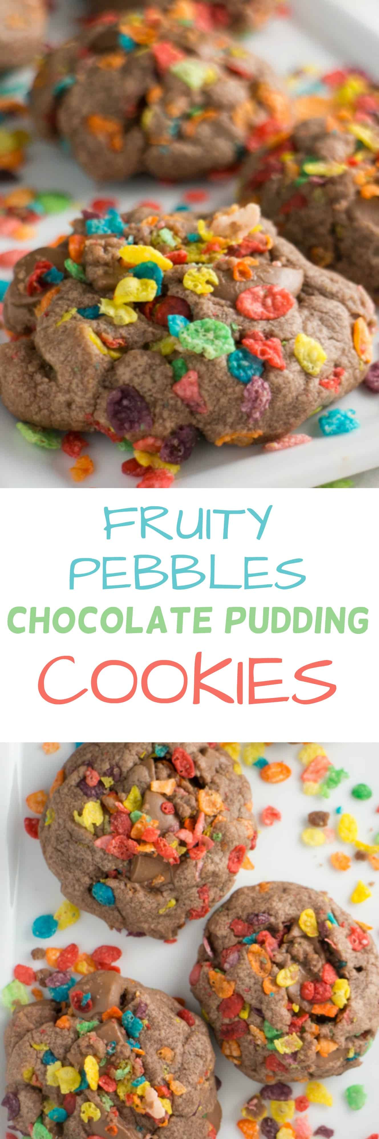 Chocolate Pudding Cookies made with FRUITY PEBBLES are the BEST! This simple and fun recipe is one of my most requested desserts! I love how each bite has chocolate bites and Fruity Pebble cereal in it!