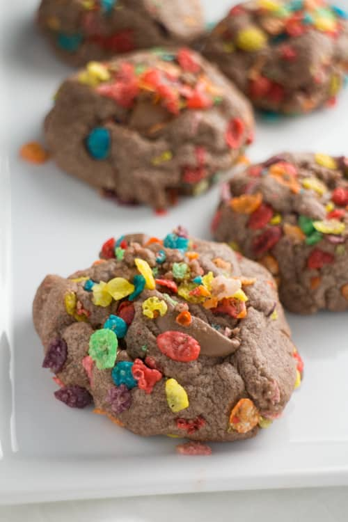 Fruity Pebbles Chocolate Pudding Cookies. These cookies will melt in your mouth with ooey gooey chocolate bites and delicious Fruity Pebble cereal.